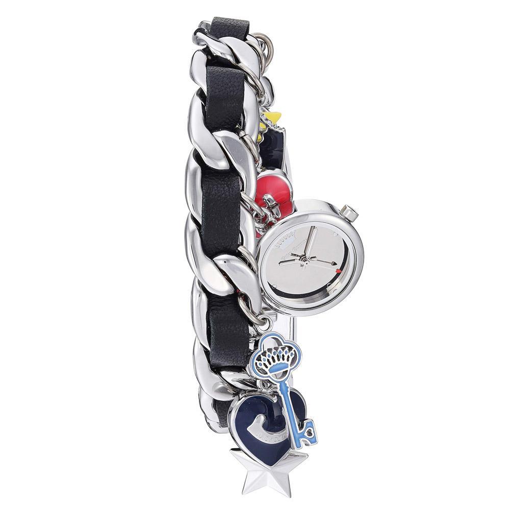 Juicy Couture Silver Steel Charm Bracelet Ladies Watch - JC1231BKCH