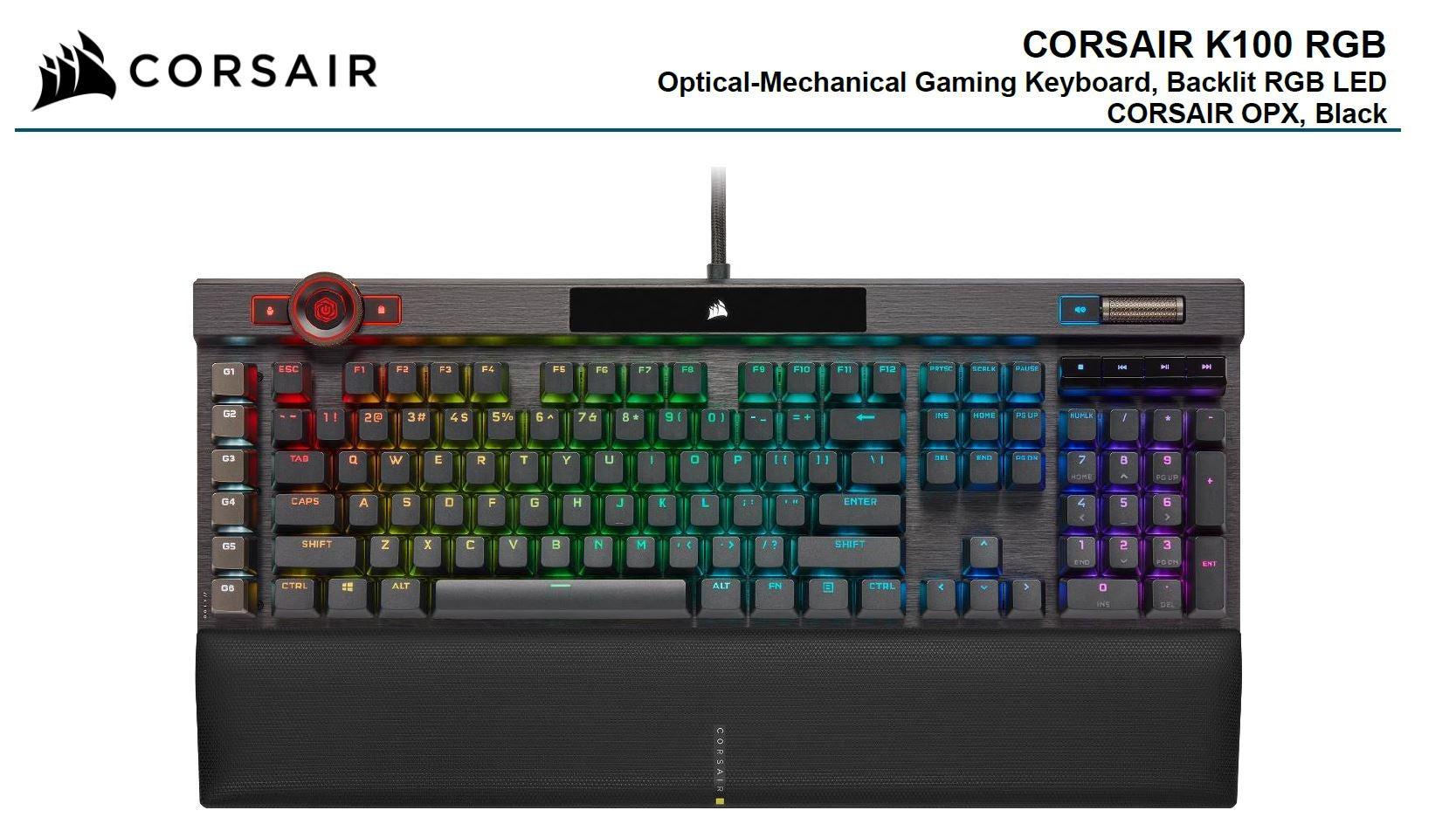 Corsair K100 RGB, Cherry Corsair OPX Switch, AXON 44-Zone RGB, PBT Double-Shot Keycaps, Black, Mechanical Gaming Keyboard CH-912A01A-NA