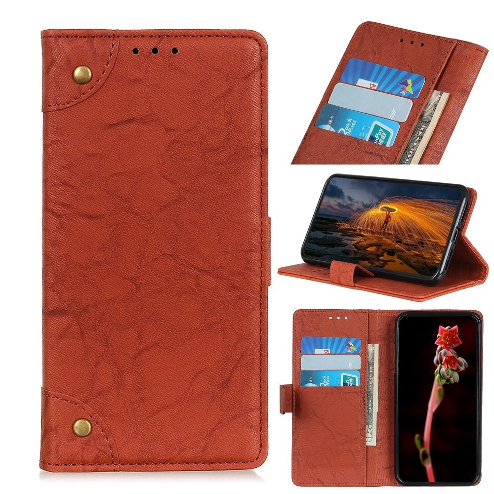 For iPhone 12 / 12 Pro Case, Copper Buckle Retro Wild Horse Texture Folio PU Leather Case Wallet, Brown