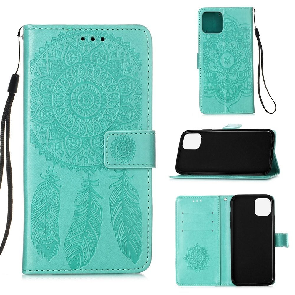 For iPhone 12 / 12 Pro Case, Dream Catcher Printing Folio PU Leather Case, Card Slots, Wallet, Lanyard, Green