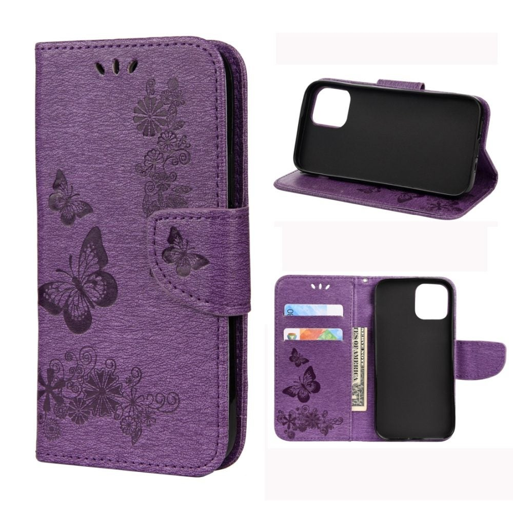 For iPhone 12 / 12 Pro Case, Vintage Floral Butterfly Folio PU Leather Case,Card Slot, Wallet, Lanyard, Purple