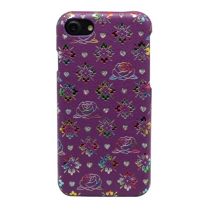 For iPhone SE (2020),8 & 7 Case,Colourful Flowers Leather Back Cover,Pink