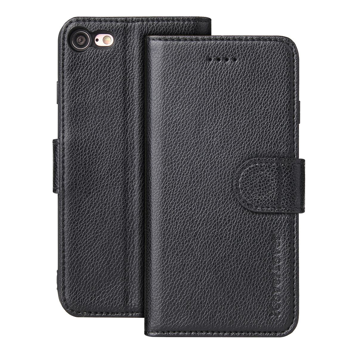 For iPhone SE (2020),8 & 7 Cover,Top-grain Leather Wallet Case,Black