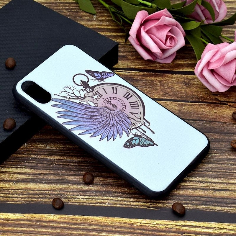 For iPhone XS Max Cover,Thin Shielding Back Shell Mobile Phone Case,Winged Watch