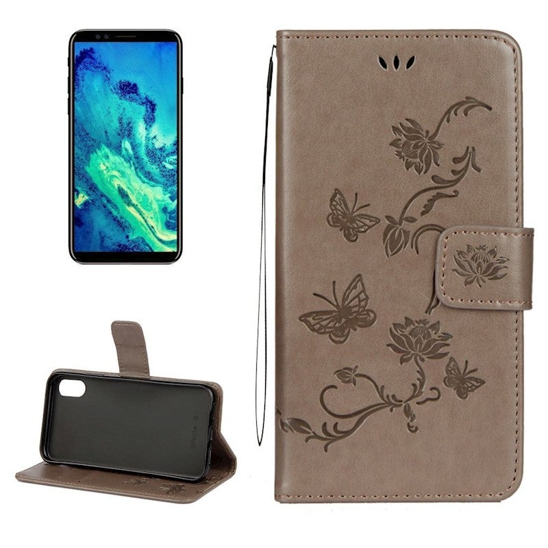 For iPhone XS,X Wallet Case,Styled Lotus Butterfly Protective Leather Cover,Grey