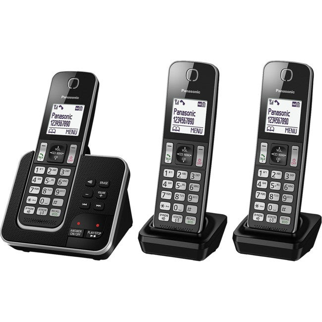 KXTGD323ALB PANASONIC Triple Handset Cordless Phone With Answering Machine KX-TGD323ALB Power Back