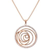 Bevilles Rose Stainless Steel Crystal Open Swirl Necklace