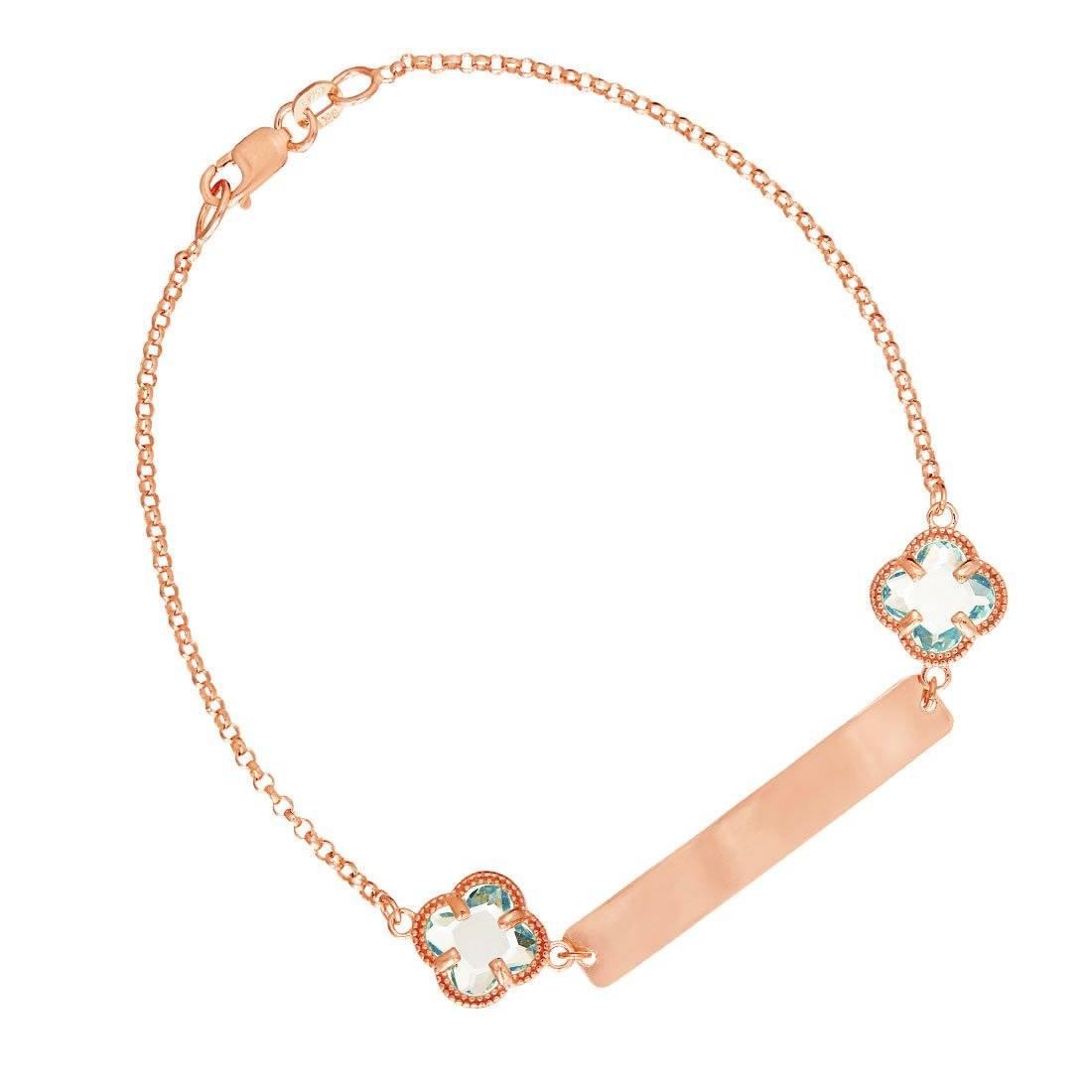Bevilles 9ct Rose Gold Silver Infused Blue Clover ID Bracelet 19cm