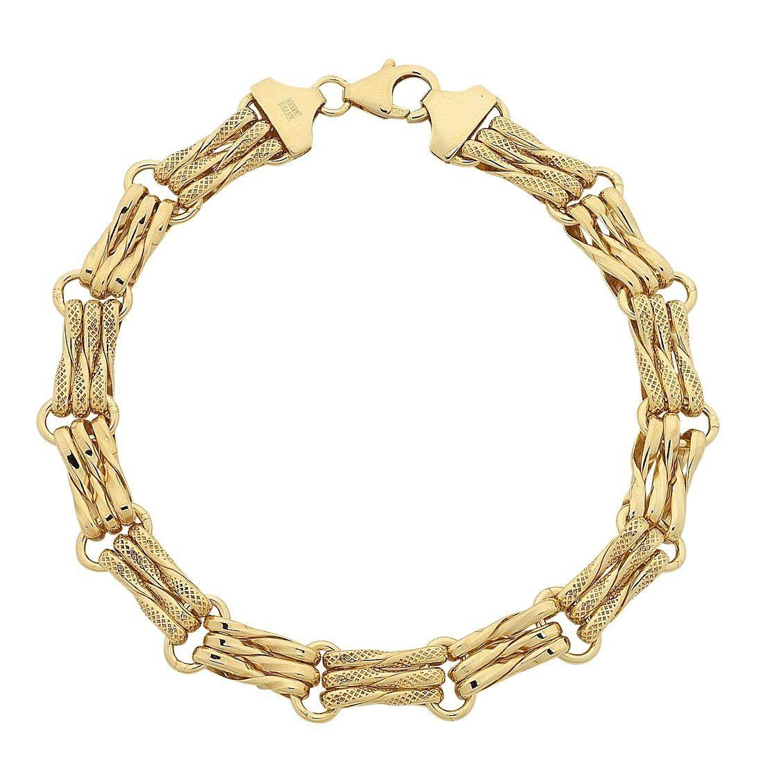 Bevilles 9ct Yellow Gold Gate Link Bracelet