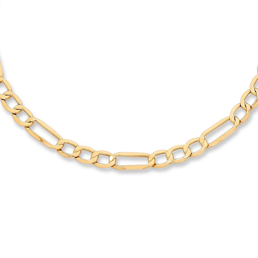 Bevilles 9ct Yellow Gold Silver Infused Figaro Necklace 45cm