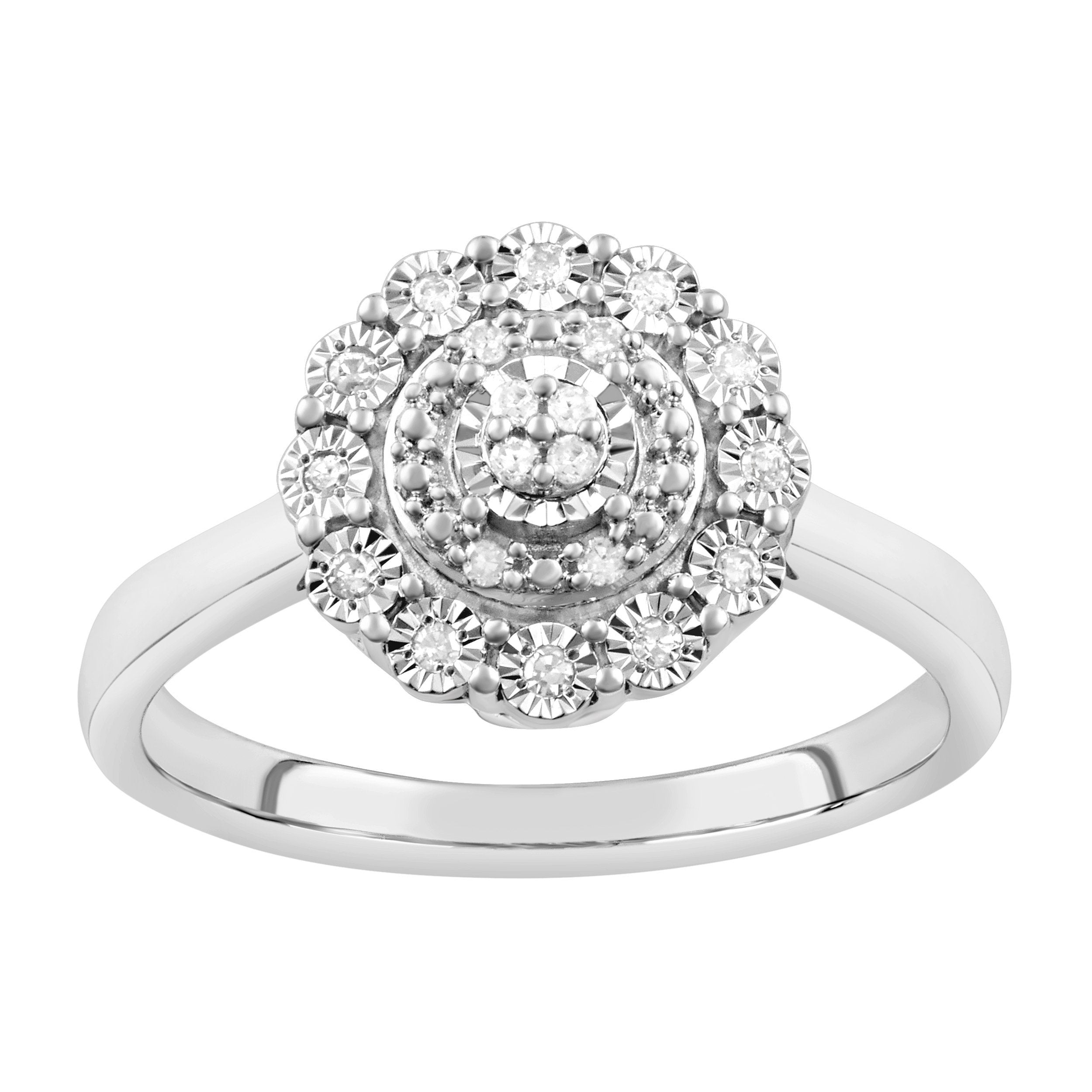 Bevilles Miracle Surround Ring with 0.10ct of Diamonds in Sterling Silver