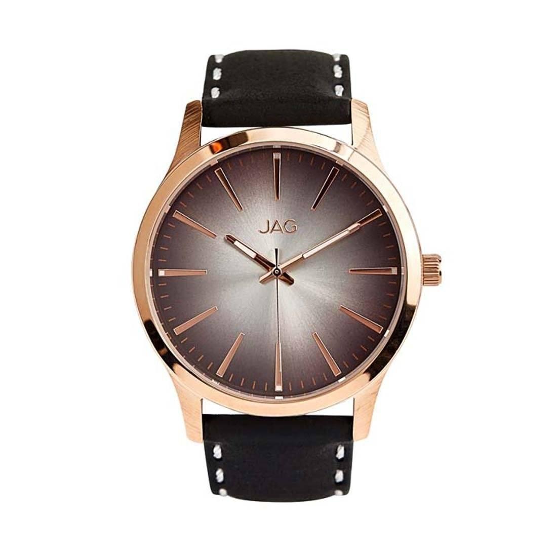 Jag Hunter Mens Watch Model J2000 Leather-Stainless Steel 3 Hands 9325452000363 Black
