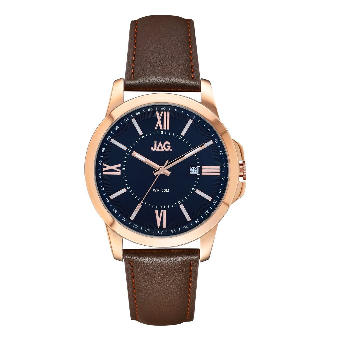 Jag JAG Men's Xavier Leather Band Watch J2155 Leather-Stainless Steel 3 Hands-Date 9325452001704