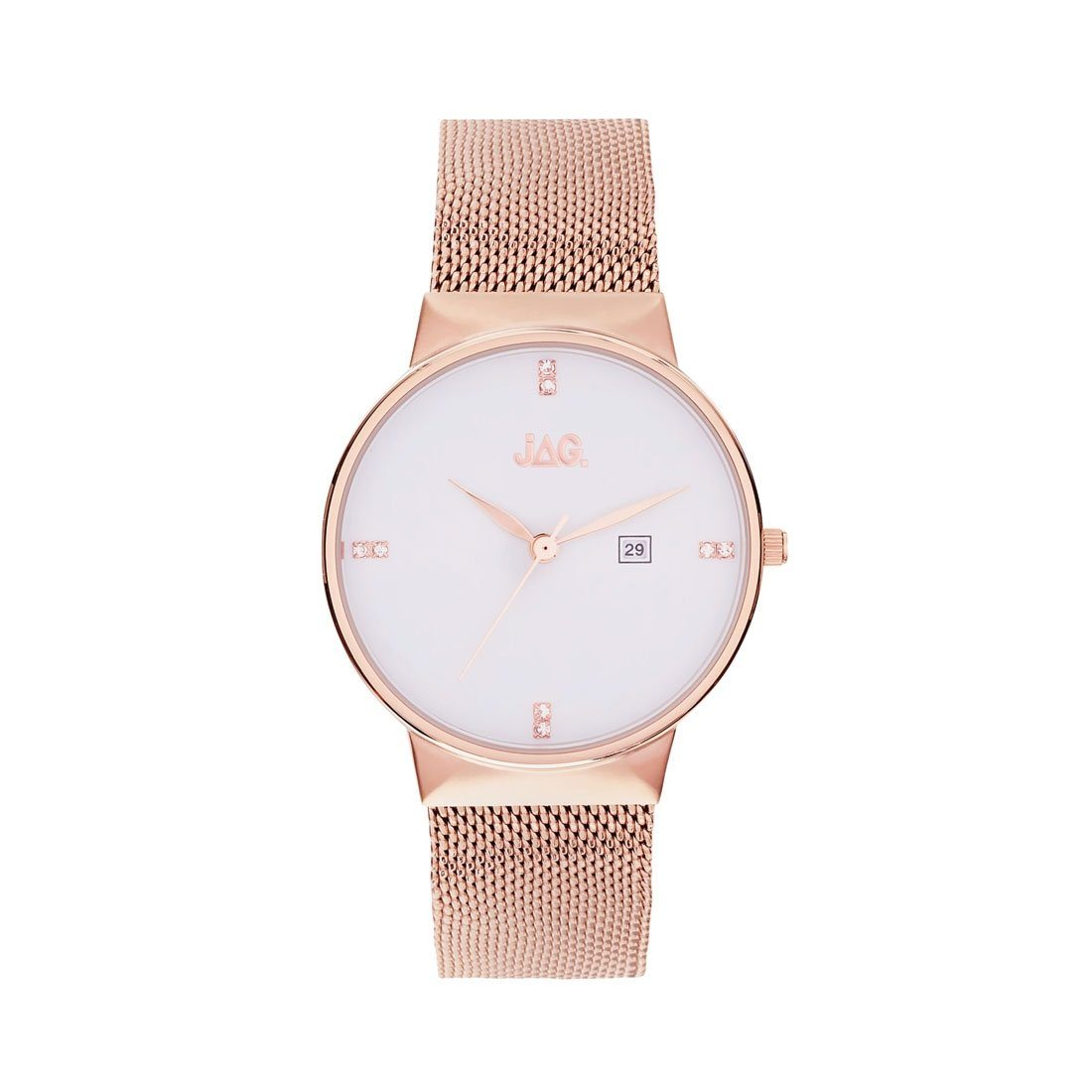 Jag Ladies Rose Mesh Watch J2242A Stainless Steel 3 Hands-Date 9325452003869