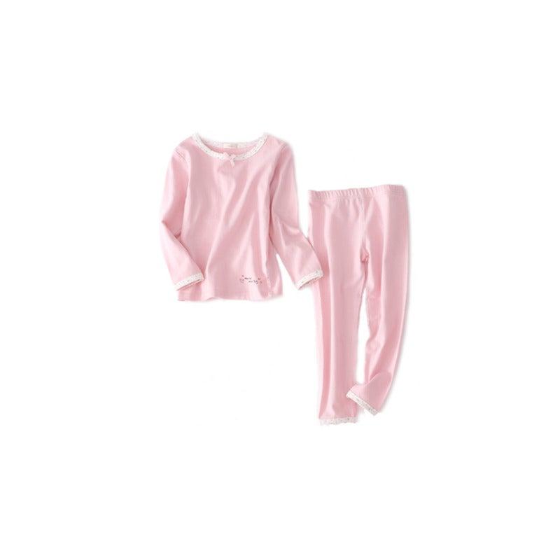2PCS Underwear Suit Children Underwear Long-Sleeved - PINK