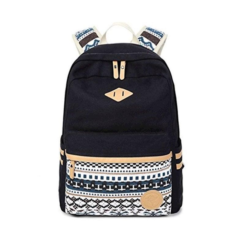 Canvas School Backpack Laptop Bag Shoulder Daypack Handbag
