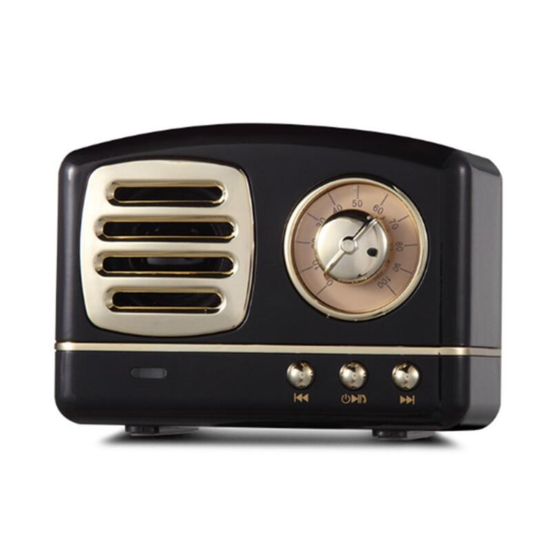 Creative Retro Bluetooth Audio Mini Portable High Quality with FM Bluetooth Small Speaker-Black