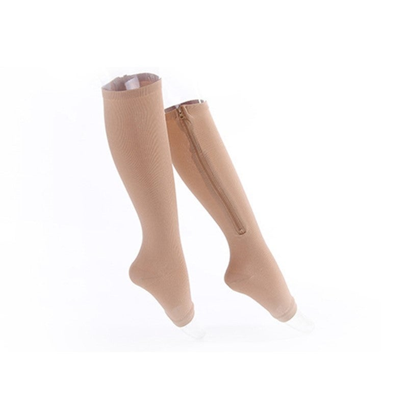 Easy On and Off Toeless Zip Up Compression Socks