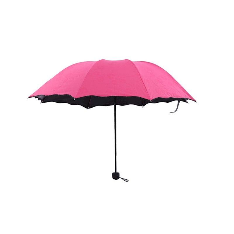 Fashion Printed Auto Foldable Sun Rain Anti-UV Umbrella - ROSE RED
