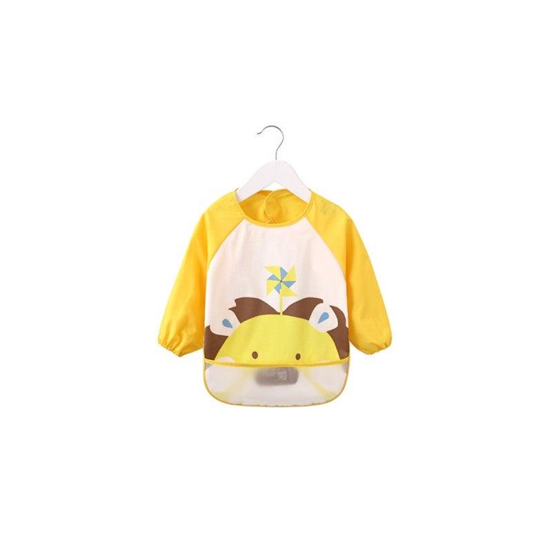 Long Sleeved Baby Bibs Waterproof Sleeved Bib - Yellow