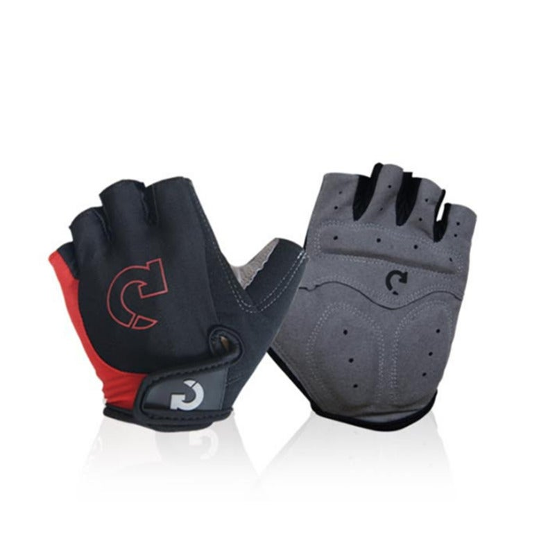 Mountain Bike Gloves Half Finger Road Racing Riding Gloves with Light Anti-Slip Shock-Absorbing-Red