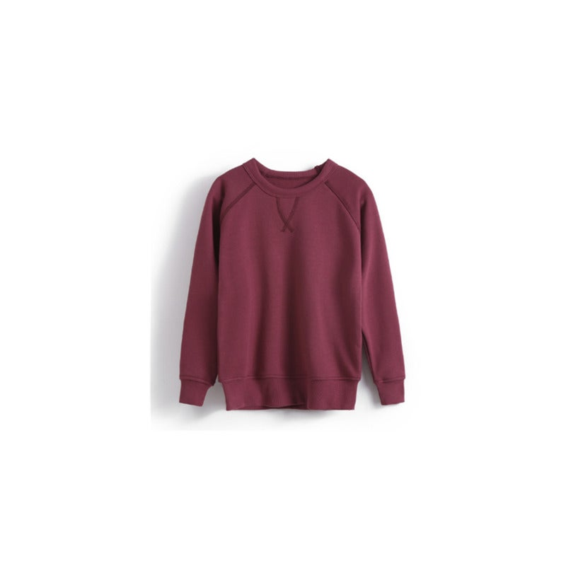 Toddler Baby Crewneck T Shirt Pullovers Sweatshirt Tops Long Sleeve for Kids - WINE RED