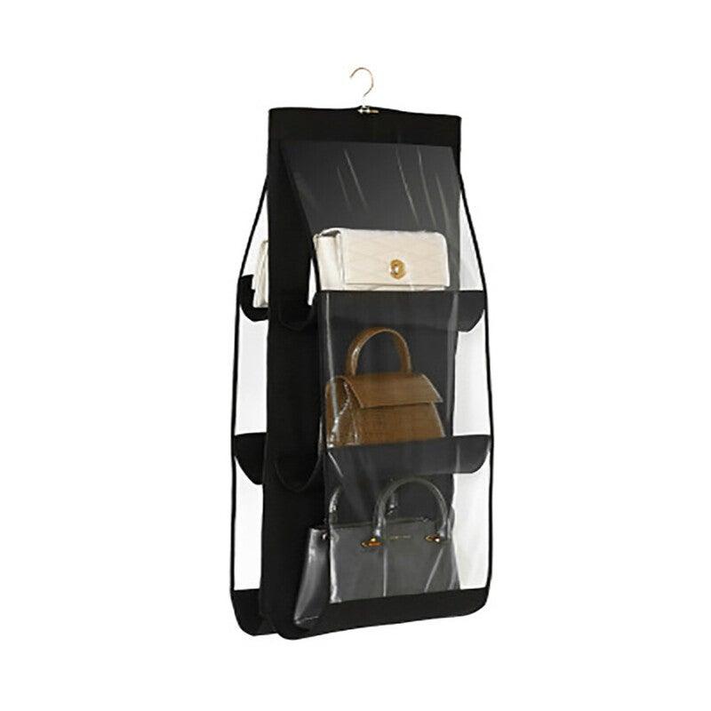 Transparent Bag Storage Hanging Bag Non-woven Household Wardrobe Storage Bag - BLACK