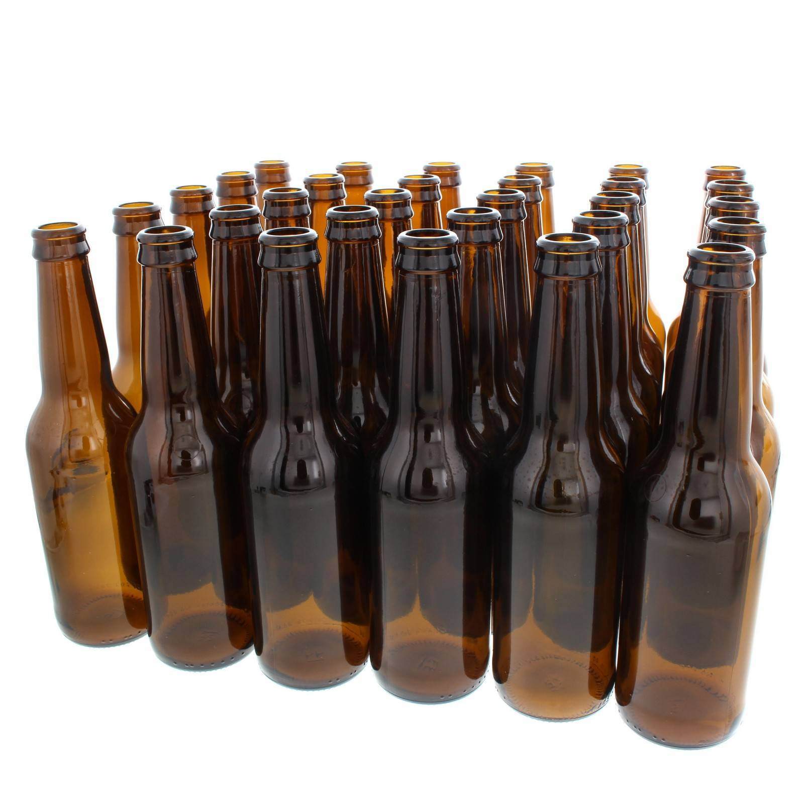 Amber Glass Stubbie Beer Bottle 330ml Crown Finish Box of 30 Home Brew