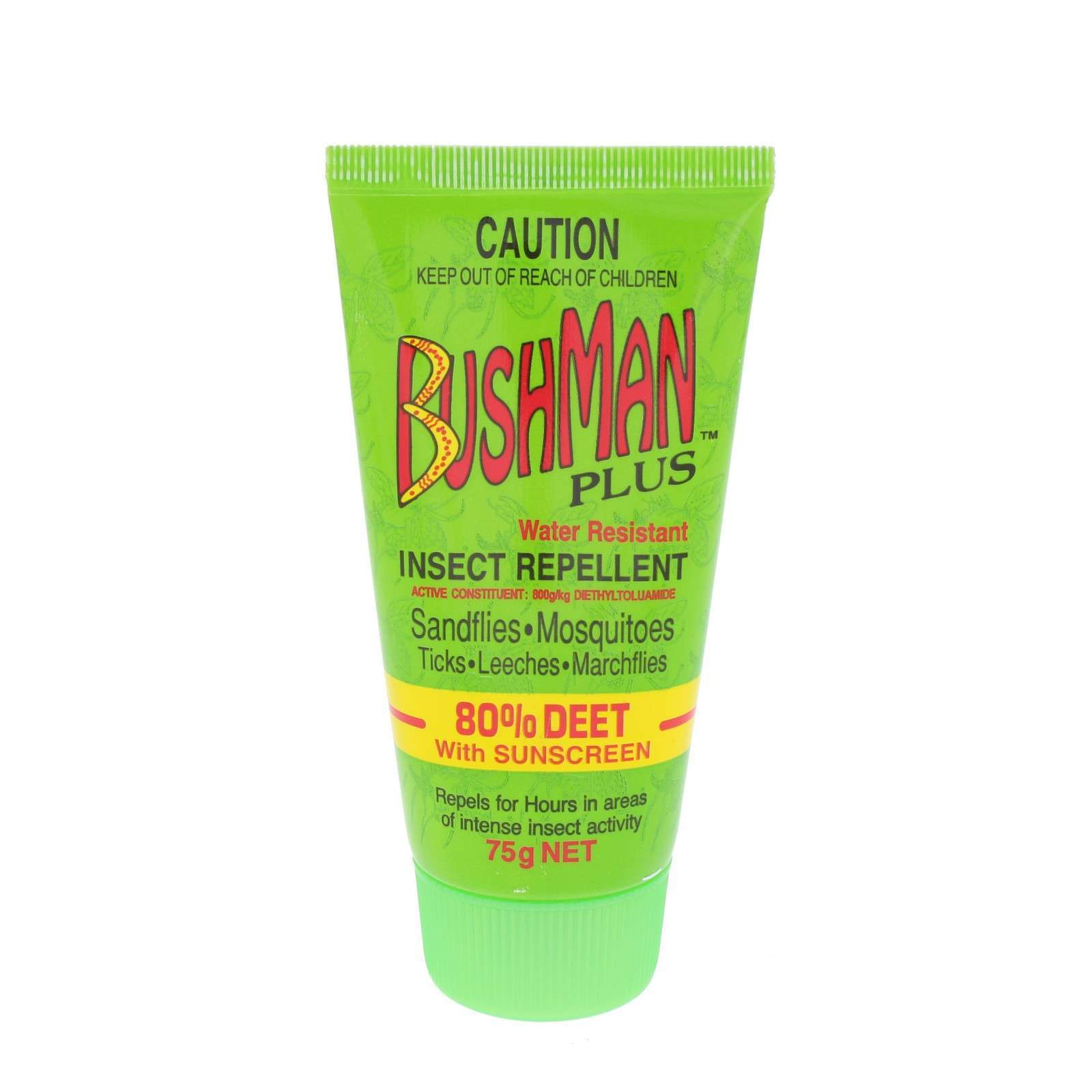 Bushman Plus Insect Repellent 80% Deet Sandflies Mosquitoes Ticks Leeches 75g
