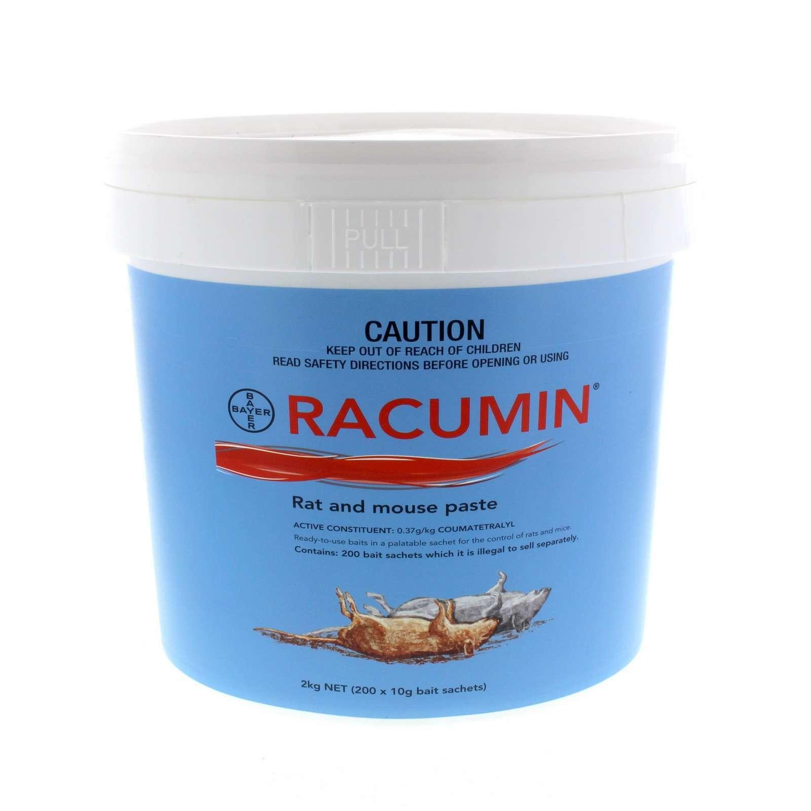 Racumin Rat and Mouse Paste Bait 200 Sachets Coumatetralyl Bayer 2kg