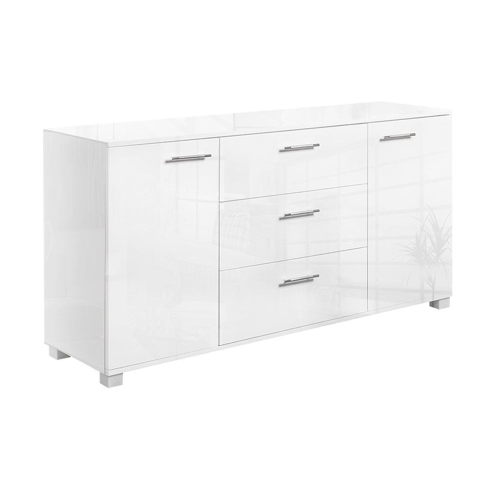 Buffet Sideboard Storage Cabinet Cupboard Gloss Finish - White