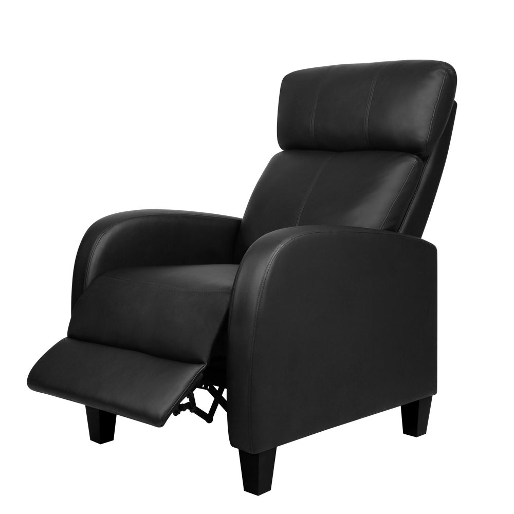 Recliner Armchair Comfortable Leg Rest PU Leather - Black