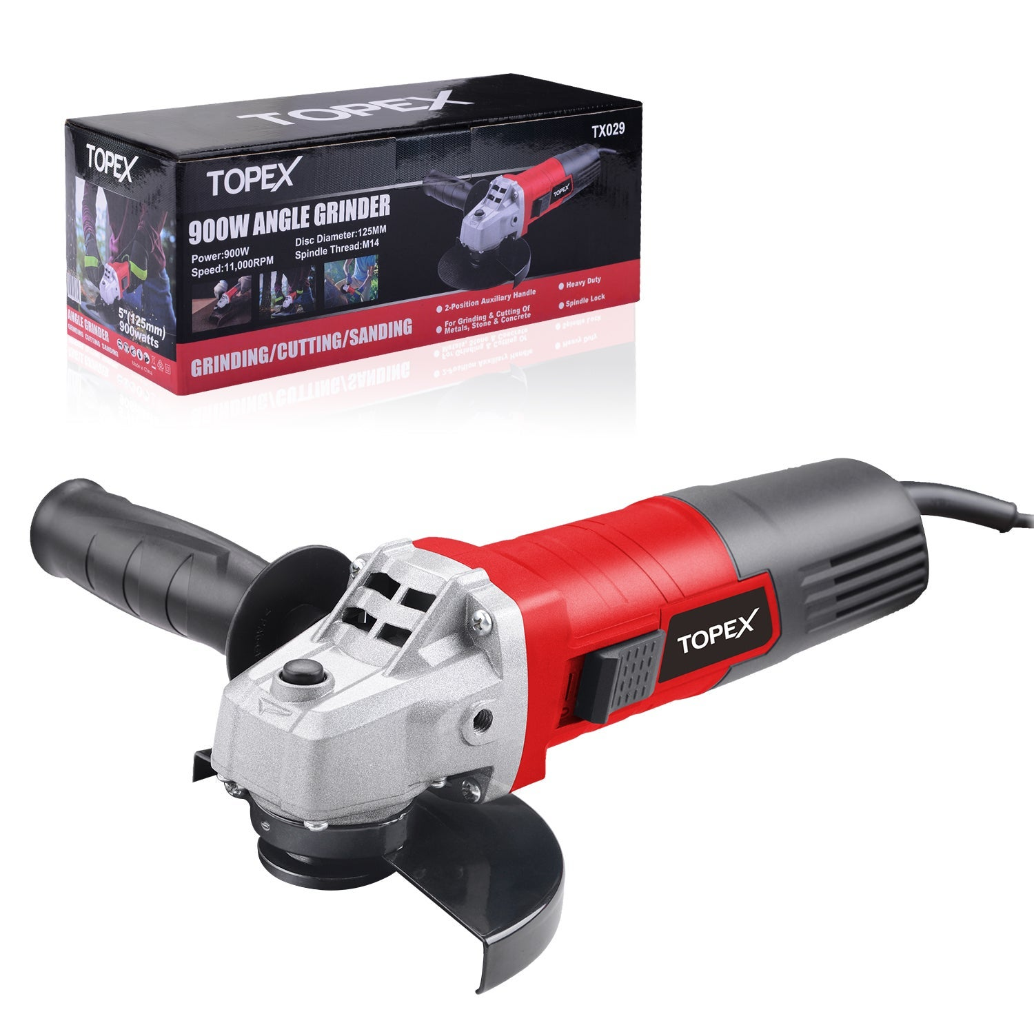 """Heavy Duty Topex 900W 125mm 5"""" Angle Grinder with Side Handle Protection Switch"""