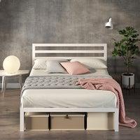 Zinus White Modern Metal Steel Platform Bed Frame Base Mattress Double Queen Size