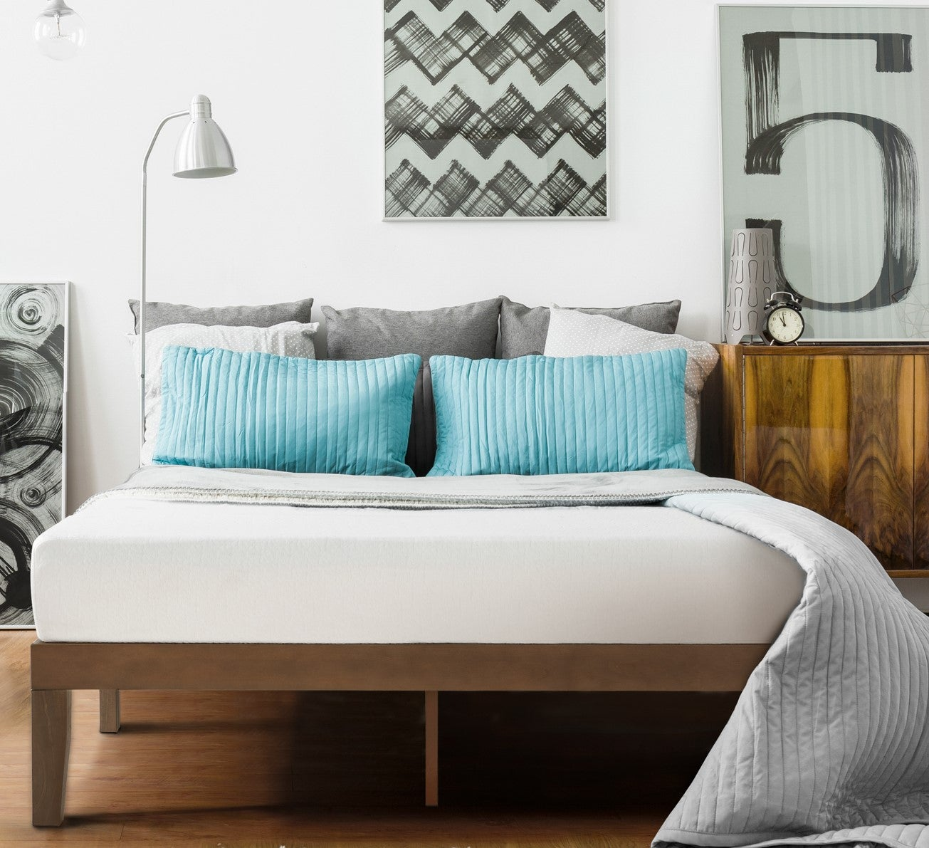 Zinus Blake Solid Wood Walnut Bed Frame