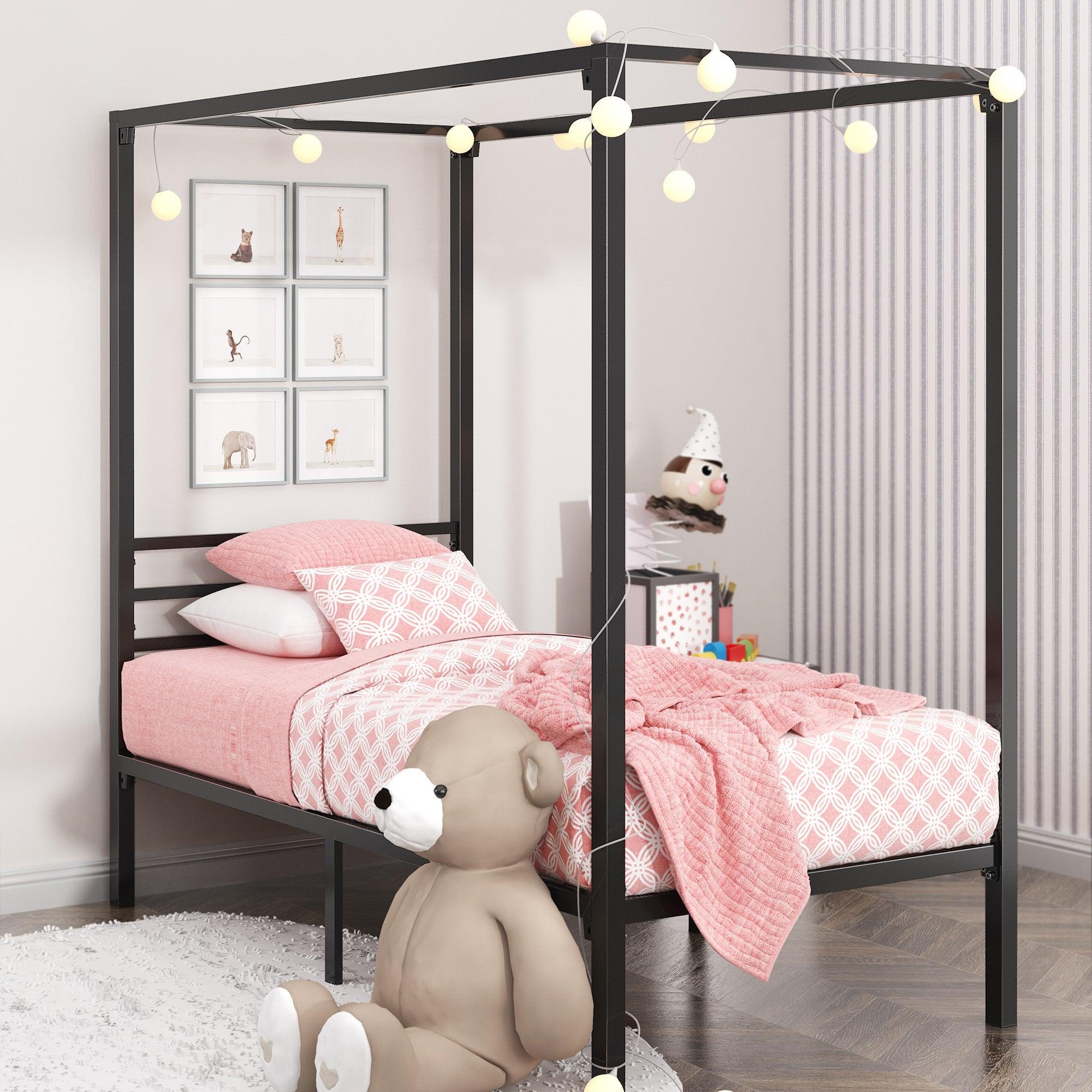 Zinus Kids Patricia Single Size Bed Frame Toddler Canopy - Black Metal