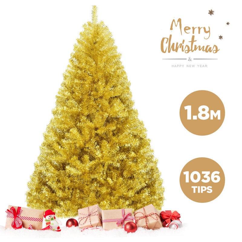 1.8M 6FT Christmas Tree Shiny Tinsel Xmas Tree Party Home Decoration Hinged Fluffy PVC 1036 Tips, Gold