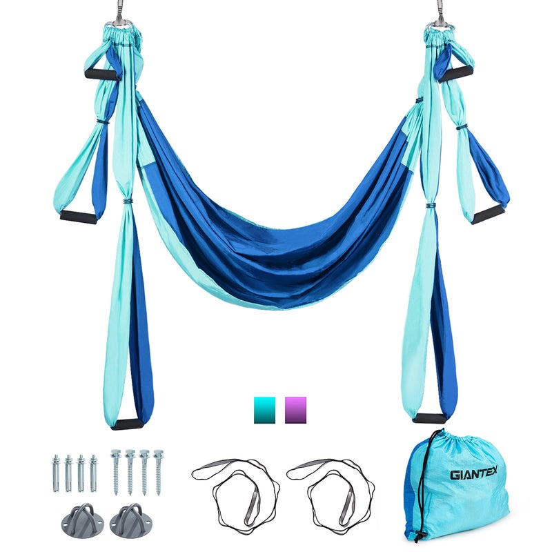 Aerial Yoga Swing Hammock Anti-Gravity Pilates Sling Trapeze Inversion Fitness Exercise Home GYM, Blue