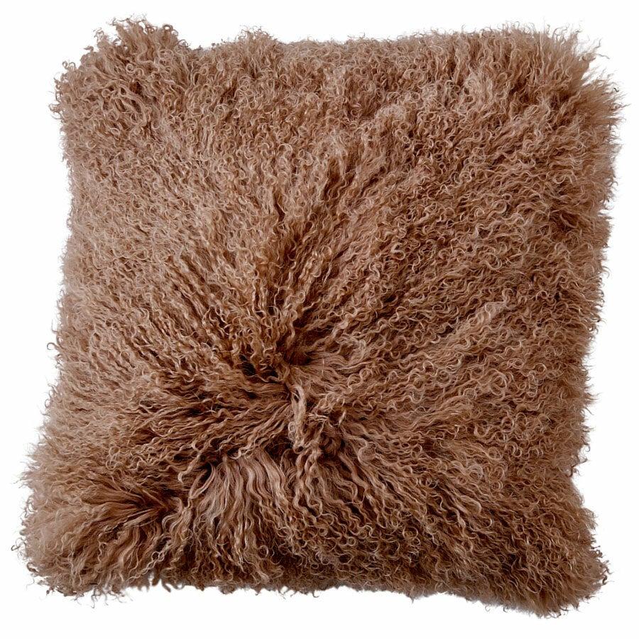 NSW Leather Mongolian Sheepskin Cushion in Caramel