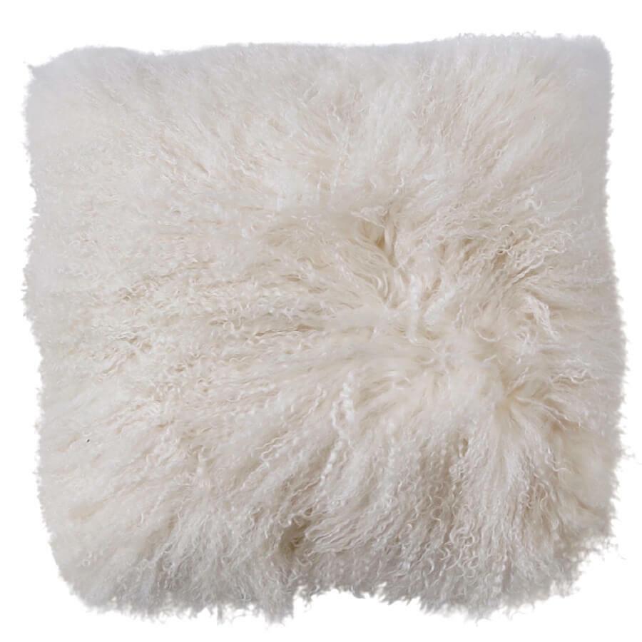 NSW Leather Mongolian Sheepskin Cushion in White