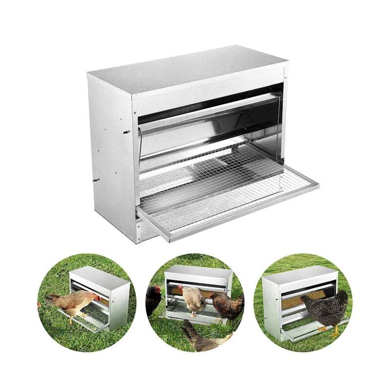 10kg Automatic Chook Chicken Feeder Poultry Auto Treadle Galvanised Metal Coop