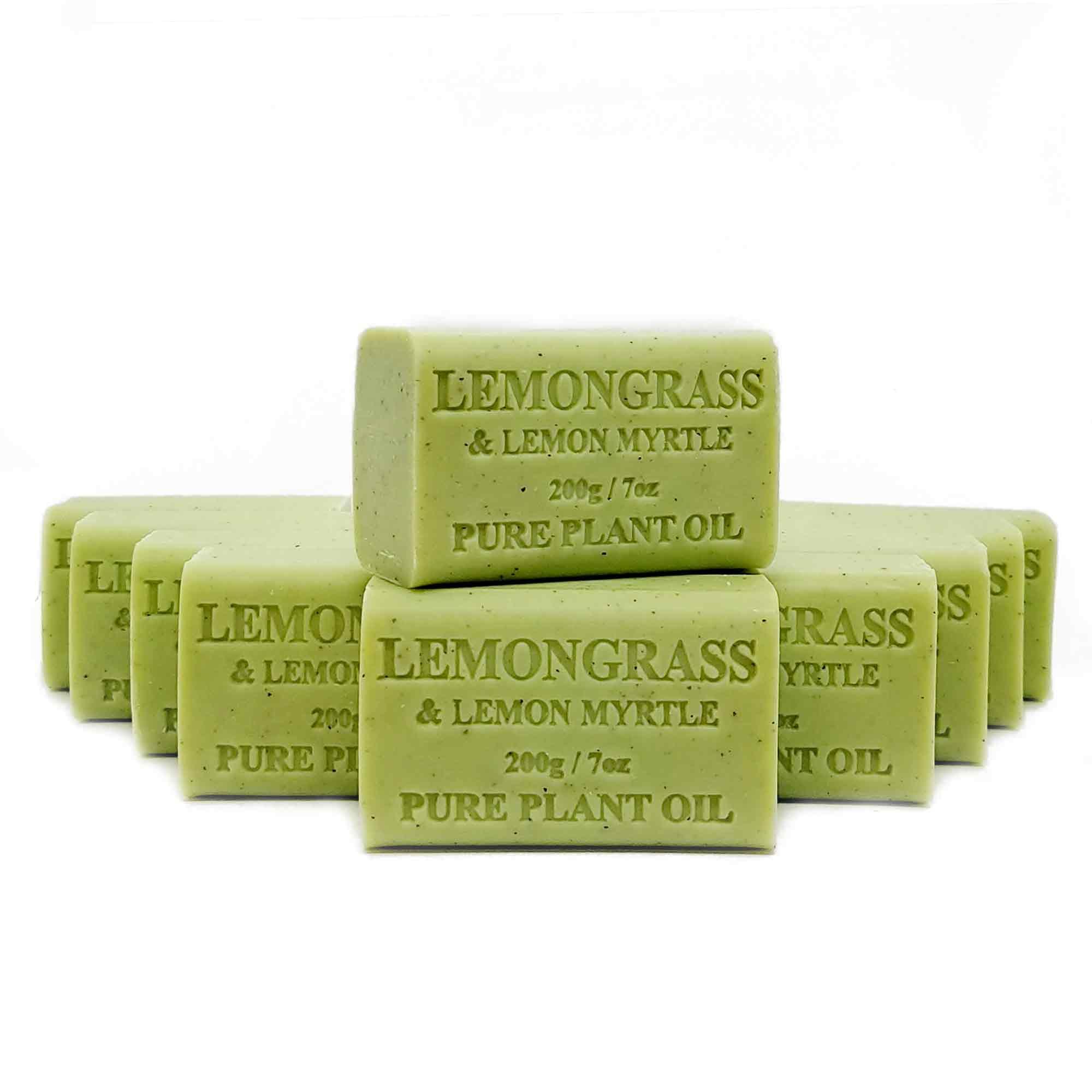 10x 200g Plant Oil Soap Lemongrass Lemon Myrtle Pure Vegetable Bar Australian