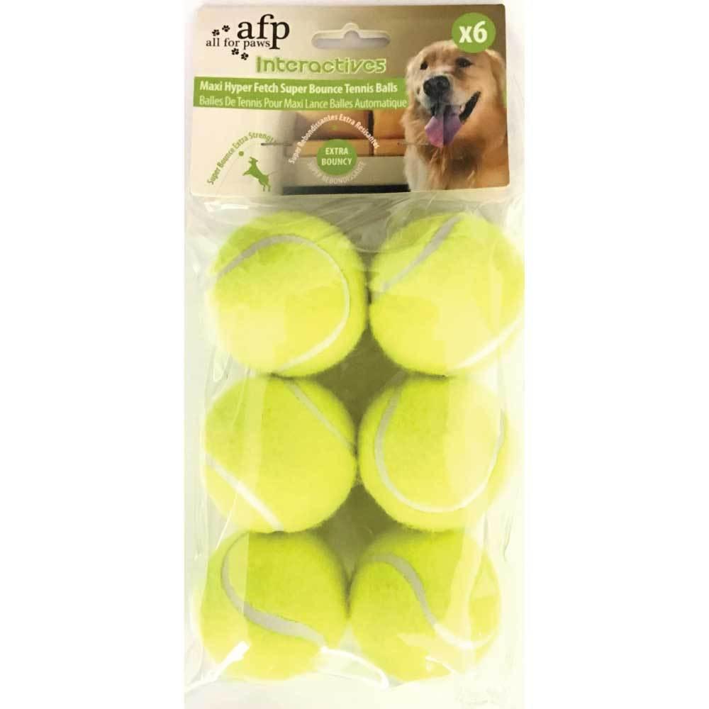 6 Pack Extra Bouncy Dog Fetch Balls AFP Hyper Maxi Super Bounce Tennis Ball Toy