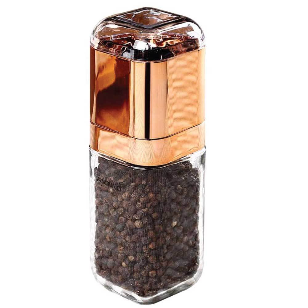 Design Glass Salt or Pepper Grinder Rose Gold 180ml Bottle Manual Ceramic Hand Mill