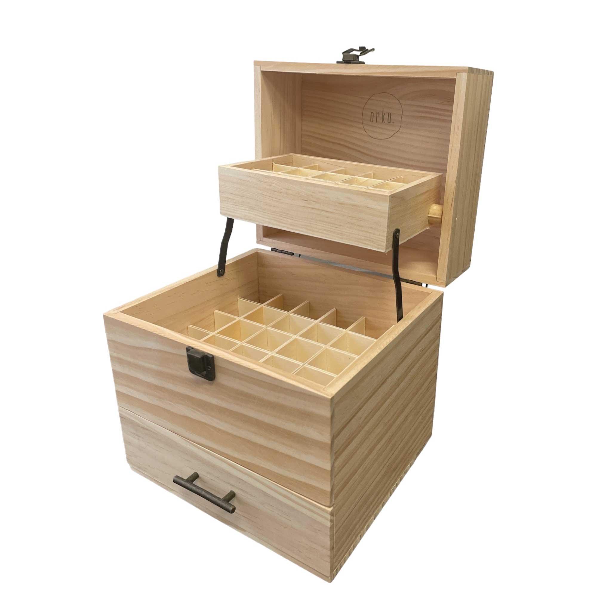 59 Slots Essential Oils Storage Box Wooden 3-Tier Bottle Plant Soul Wood Design