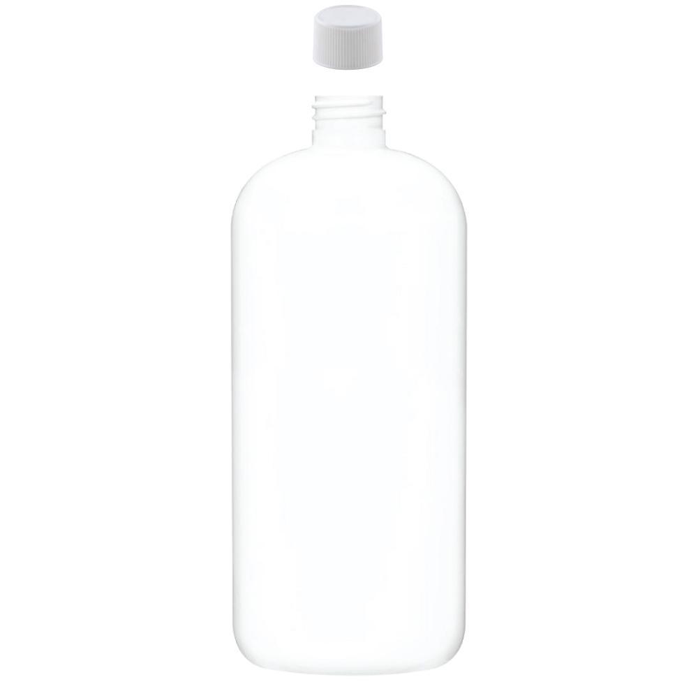 White 1L Plastic PET Boston Bottle 28/410 Neck Screw Cap Round Food Safe Bottles