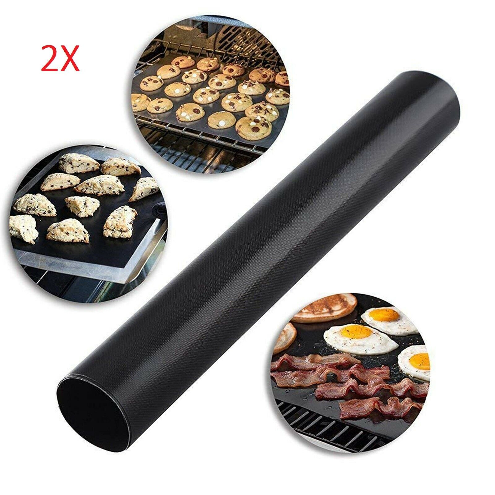 2 x BBQ Grill Oven Non-stick Hotplate Cooking Liner Reusable 33x50cm