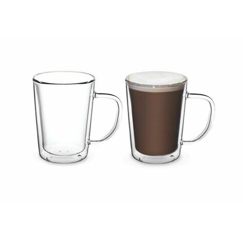 2x Tramontina Double Wall Glass Coffee Mug Hot Cold Drink Latte Tea 250ml