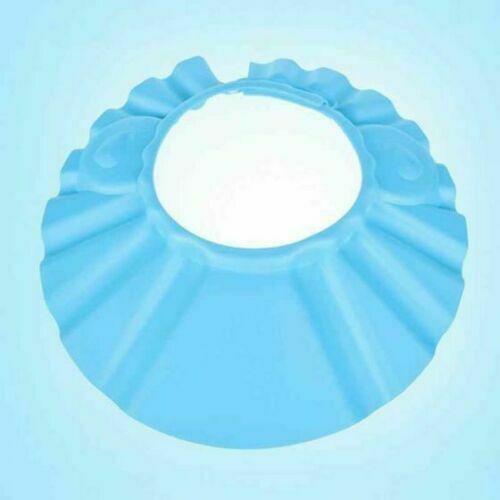 Adjustable Baby Shower Cap Baby Kids Children Bath Shampoo Shield Hat Wash Hair - Blue