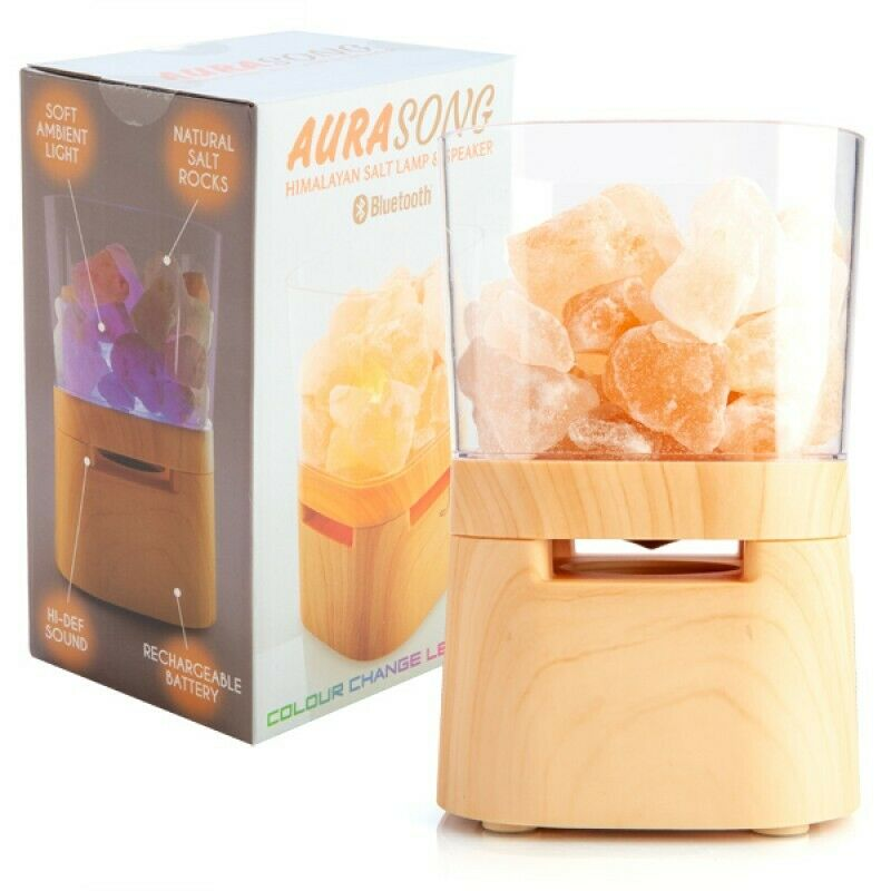 AuraSong Himalayan Salt Lamp & Bluetooth Speaker LED Light Colour Change